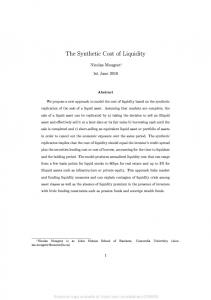 The Synthetic Cost of Liquidity - SSRN papers