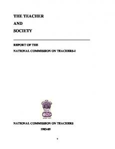the teacher and society - Teacher Education