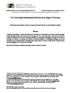 The Technology Roadmapping Method and its Usage in Chemistry