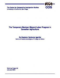 The Temporary Mexican Migrant Labor Program in Canadian Agriculture