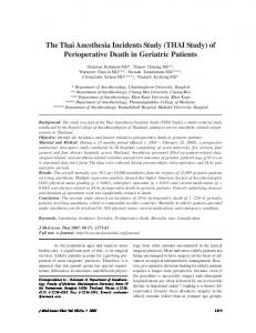 The Thai Anesthesia Incidents Study (THAI Study ... - Semantic Scholar