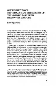 the theology and hermeneutics of the moravian daily ...