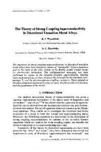 The theory of strong coupling superconductivity in ... - CiteSeerX