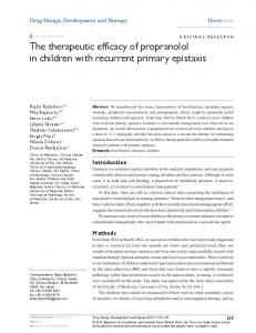 The therapeutic efficacy of propranolol in children with ... - CiteSeerX