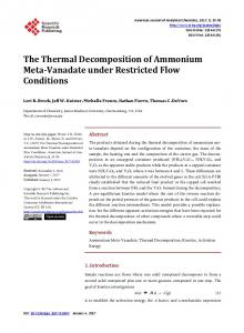 The Thermal Decomposition of Ammonium Meta-Vanadate under