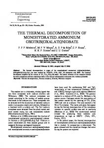 the thermal decomposition of monohydrated ammonium oxotris(oxalate)