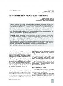THE THERMOPHYSICAL PROPERTIES OF SERPENTINITE