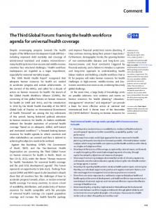 The Third Global Forum: framing the health workforce agenda for ...