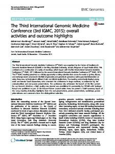 The Third International Genomic Medicine Conference (3rd IGMC, 2015)