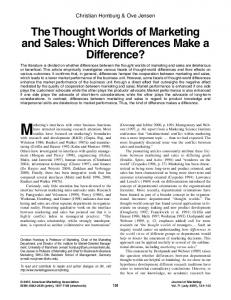 The Thought Worlds of Marketing and Sales: Which Differences ...