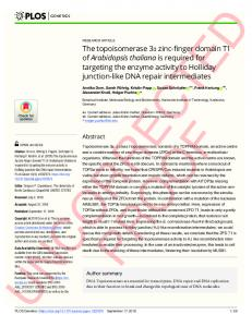 The topoisomerase 3#_#x03B1; zinc-finger domain T1 of ... - PLOS