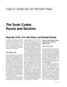 The Torah Codes - ANU College of Engineering & Computer Science