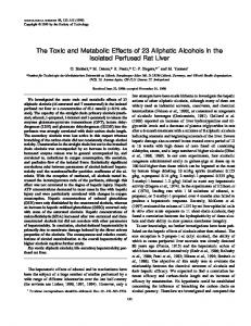 The Toxic and Metabolic Effects of 23 Aliphatic ... - Semantic Scholar