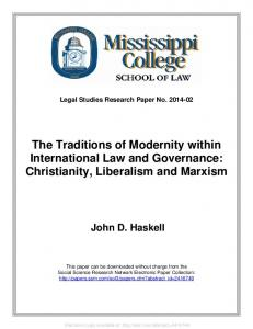 The Traditions of Modernity within International Law ... - SSRN papers