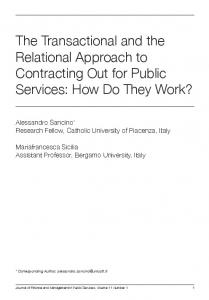 The Transactional and the Relational Approach to Contracting Out for ...