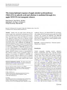 The transcriptional response of apple alcohol acyltransferase ...