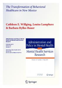 The Transformation of Behavioral Healthcare in New