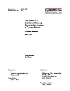 The Transitional Employment Training Demonstration - Mathematica ...