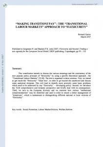 The ?Transitional labour markets? approach to ?Flexicurity - Core
