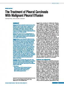 The Treatment of Pleural Carcinosis With Malignant Pleural Effusion