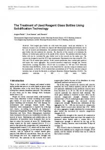 The Treatment of Used Reagent Glass Bottles Using Solidification
