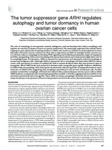 The tumor suppressor gene ARHI regulates autophagy and tumor ...