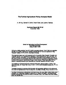 The Turkish Agricultural Policy Analysis Model - AgEcon Search