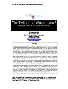 The Twilight of Westminster?