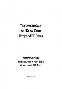 The Two Brothers As I Knew Them Harry and Bill Evans - Evans, Harry