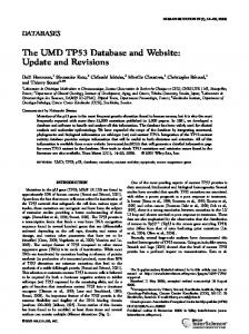 The UMD TP53 database and website: update and ... - p53 WEB SITE
