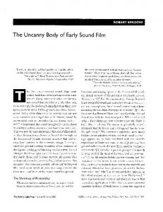 The Uncanny Body of Early Sound Film