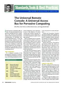 The Universal Remote Console: A Universal Access Bus for Pervasive ...