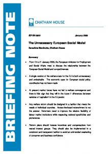 The Unnecessary European Social Model - Chatham House