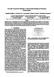 The USC CreativeIT Database: A Multimodal Database of Theatrical ...