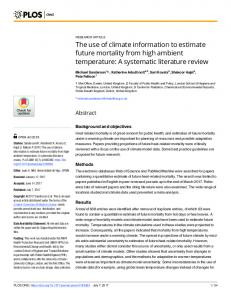 The use of climate information to estimate future mortality from ... - PLOS