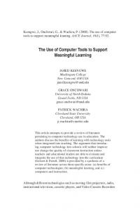 The Use of Computer Tools to Support Meaningful ... - LearnTechLib