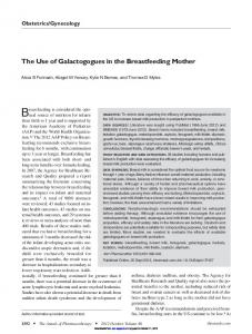 The Use of Galactogogues in the Breastfeeding Mother