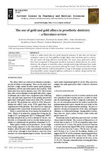 The use of gold and gold alloys in prosthetic dentistry