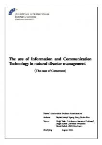 The use of Information and Communication Technology in disaster ...