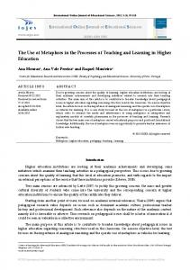The Use of Metaphors in the Processes of Teaching and Learning in