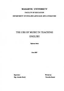 THE USE OF MUSIC IN TEACHING ENGLISH