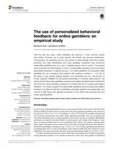 The use of personalized behavioral feedback for online ... - Frontiers