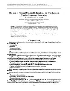 The Use of Physical Unclonable Functions for True ... - Springer Link