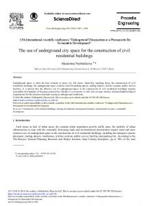The Use of Underground City Space for the ... - ScienceDirect.com