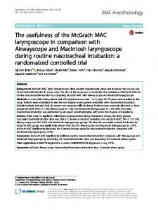The usefulness of the McGrath MAC ... - BMC Anesthesiology