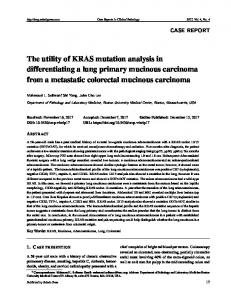 The utility of KRAS mutation analysis in