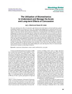 The Utilization of Biomechanics to Understand and Manage the Acute ...