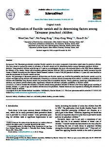 The utilization of fluoride varnish and its determining factors among ...