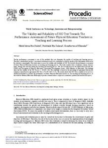 The Validity and Reliability of ISO Test towards the ... - ScienceDirect
