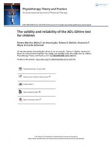 The validity and reliability of the ADL-Glittre test for